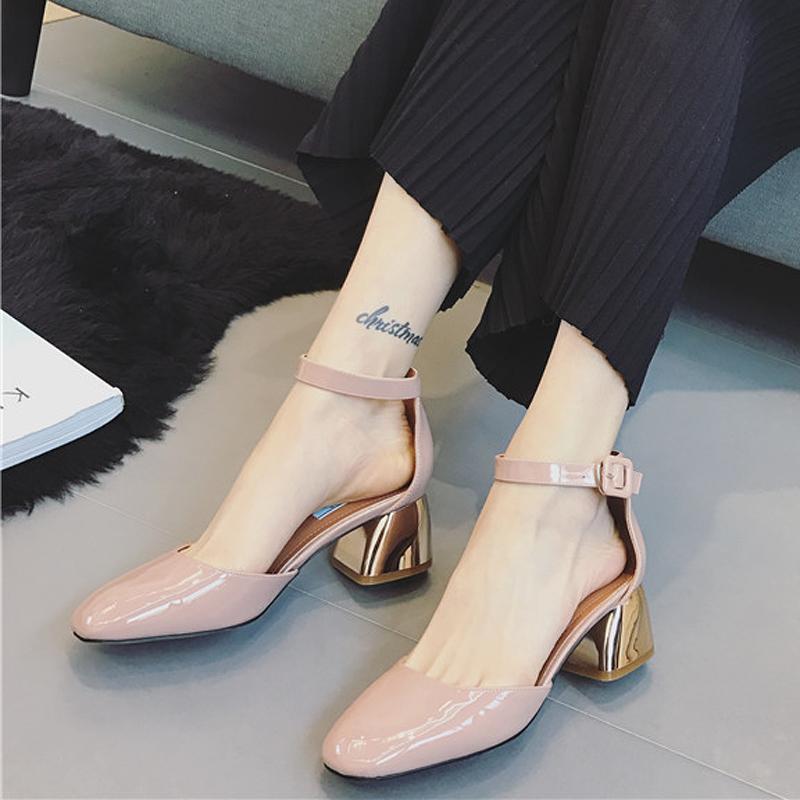 非主流高跟鞋 粗跟高跟鞋女2017春季新款韩版方头浅口裸色一字扣时尚百搭女单鞋_推荐淘宝好看的女时尚 高跟鞋