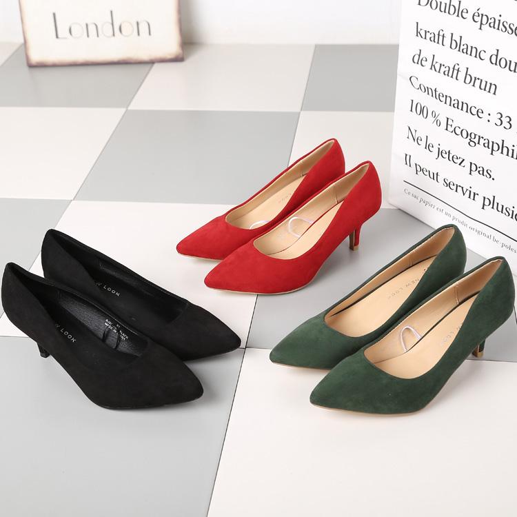 绿色单鞋 我的前半生主色系-绿色 中跟高跟尖头细跟单鞋工作上班OL大码女鞋_推荐淘宝好看的绿色单鞋
