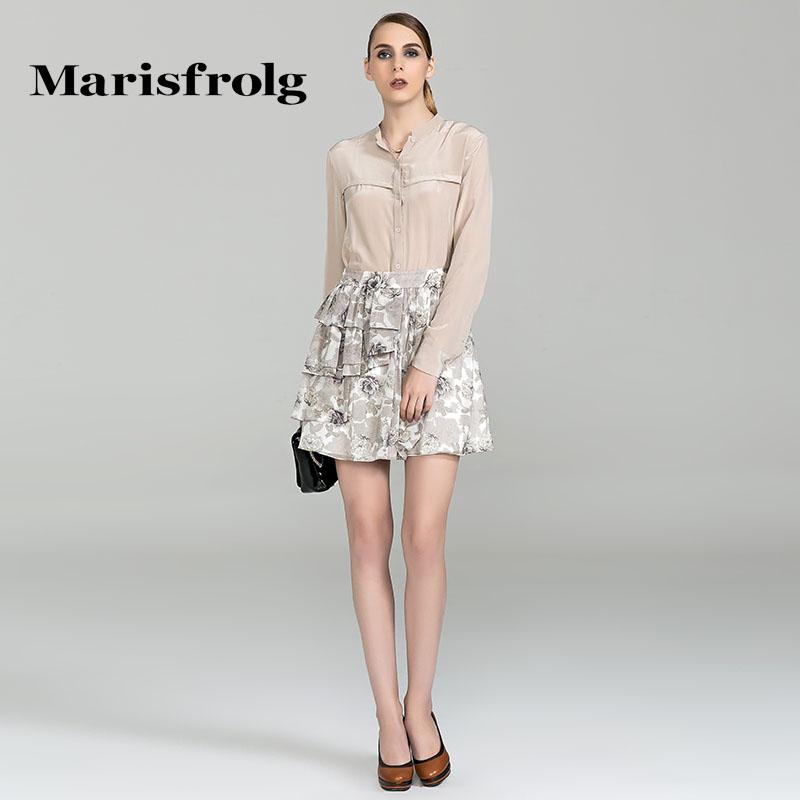 玛丝菲尔正品代购 Marisfrolg玛丝菲尔优雅时尚印花桑蚕丝波浪女装半身裙专柜正品_推荐淘宝好看的玛丝菲尔