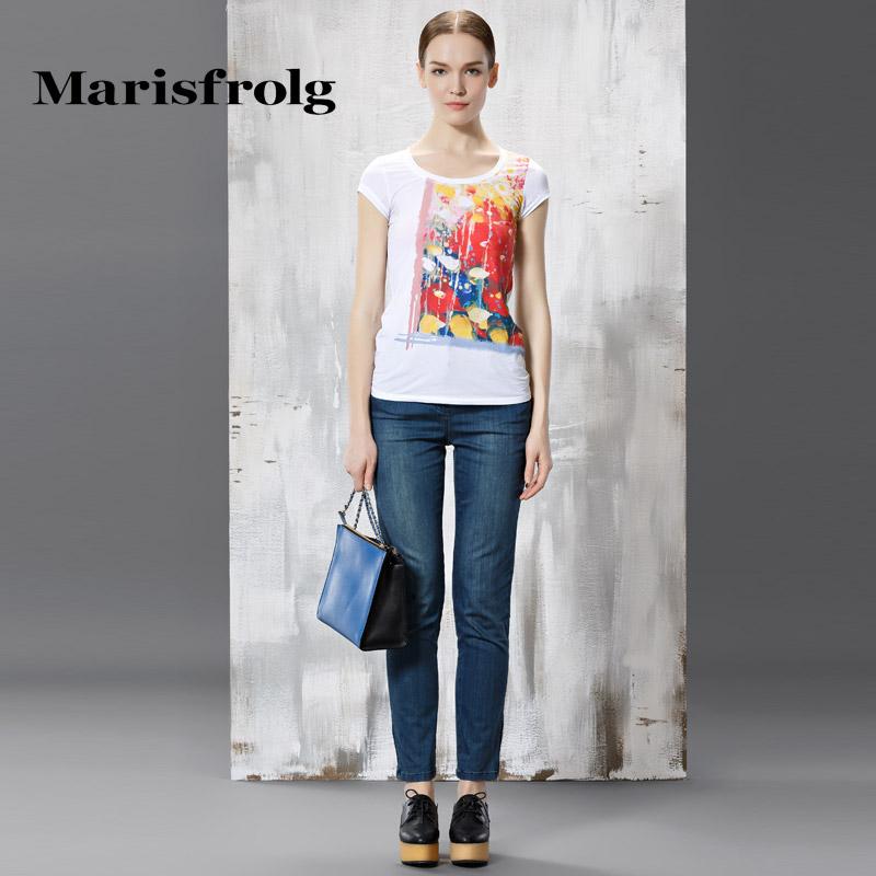 玛丝菲尔正品代购 Marisfrolg玛丝菲尔女装时尚显瘦百搭棉质磨白牛仔裤秋专柜正品_推荐淘宝好看的玛丝菲尔