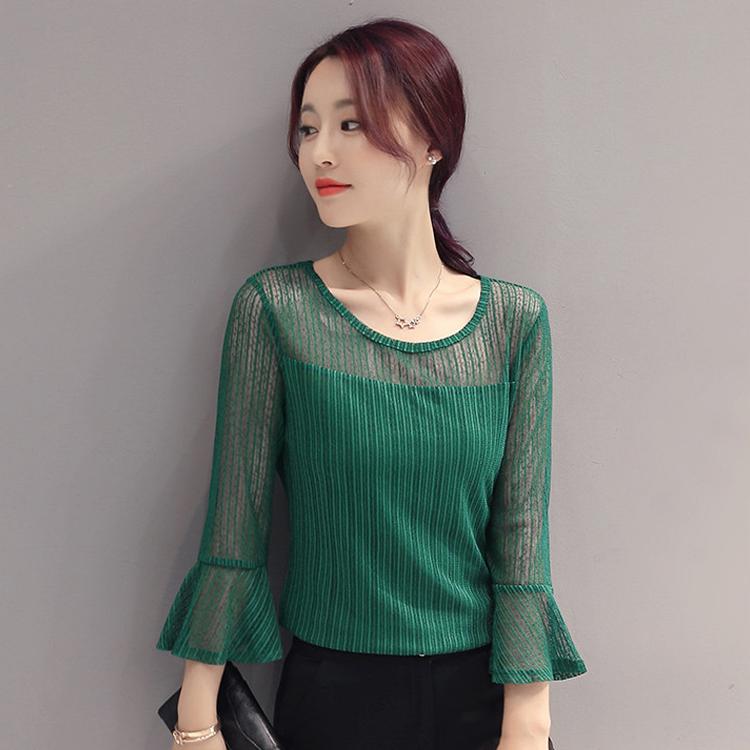 绿色雪纺衫 春装新款七分袖雪纺衫圆领喇叭袖蕾丝透视上衣女修身显瘦打底衫夏_推荐淘宝好看的绿色雪纺衫