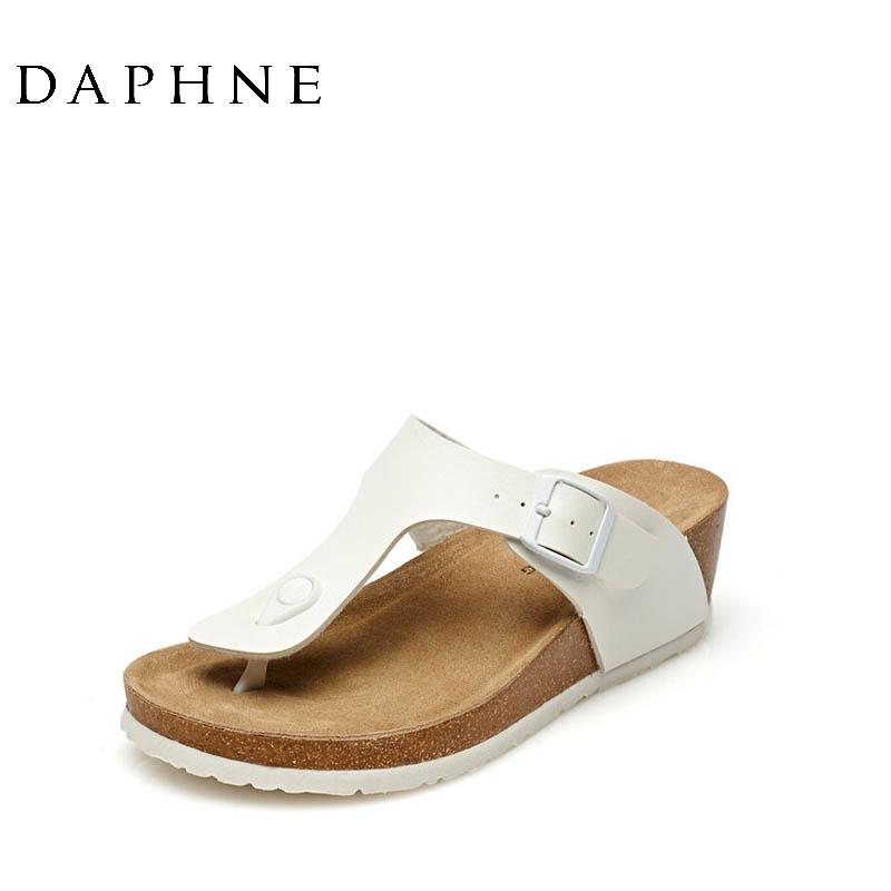 达芙妮罗马鞋 Daphne达芙妮夏季新款夹趾凉鞋 罗马风中跟休闲女拖鞋1515303052_推荐淘宝好看的达芙妮罗马鞋