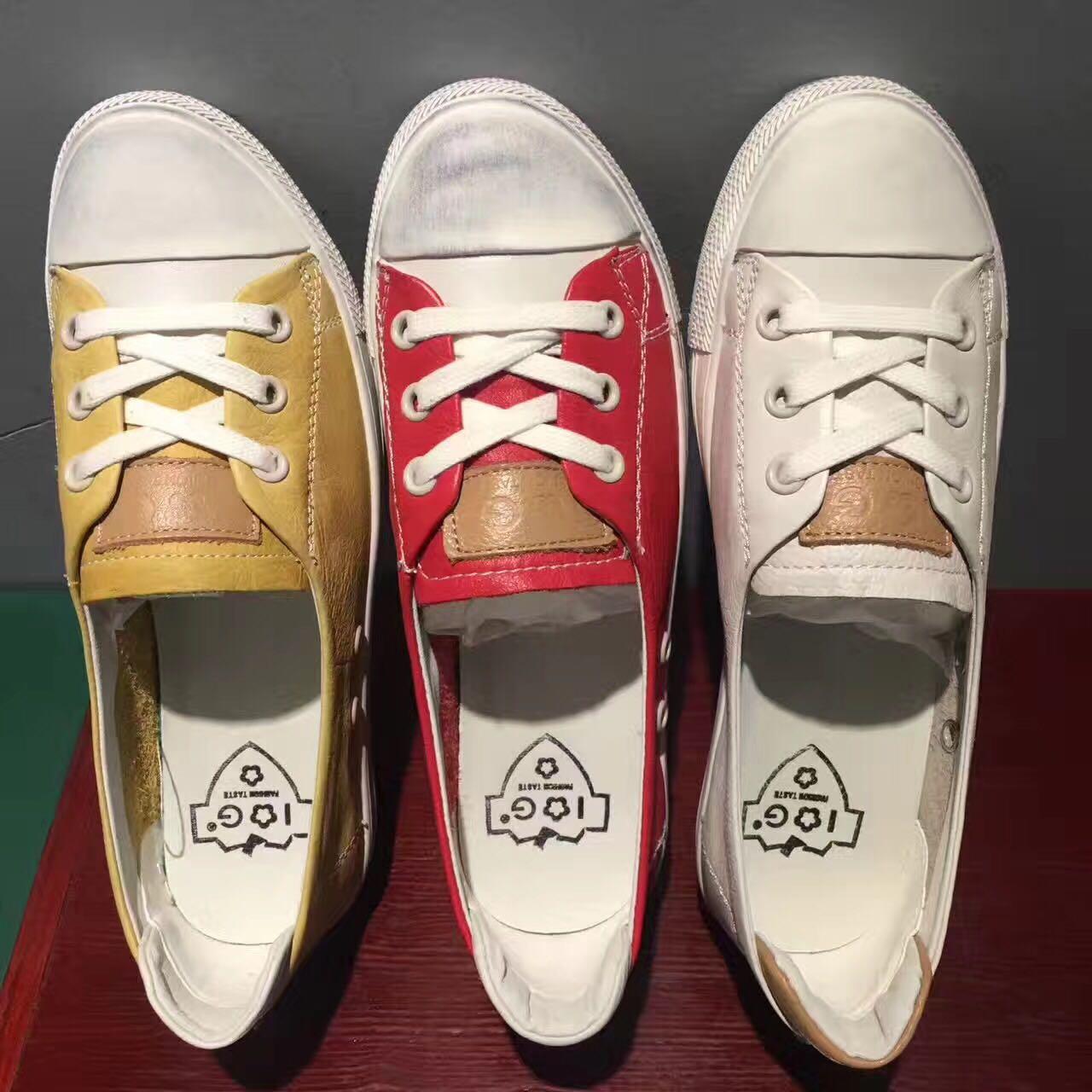 黄色平底鞋 平底小板鞋女真皮休闲鞋舒适红色板鞋黄色头层牛皮小白鞋韩版百搭_推荐淘宝好看的黄色平底鞋