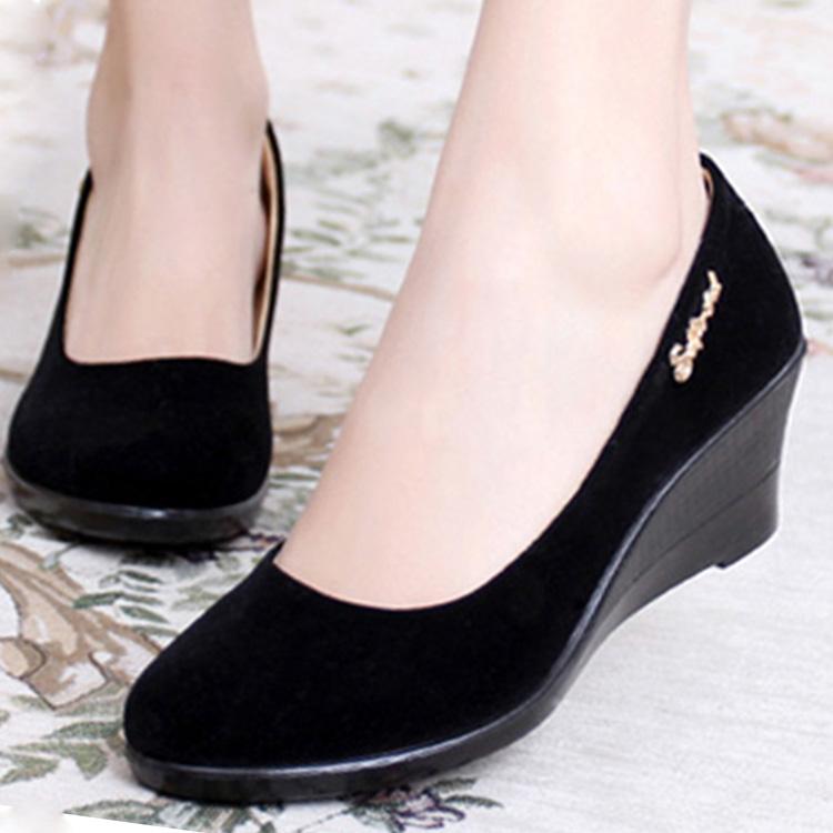 黑色坡跟鞋 春夏秋正品老北京布鞋黑色绒面宾馆酒店工装工作跳舞女鞋坡跟单款_推荐淘宝好看的黑色坡跟鞋