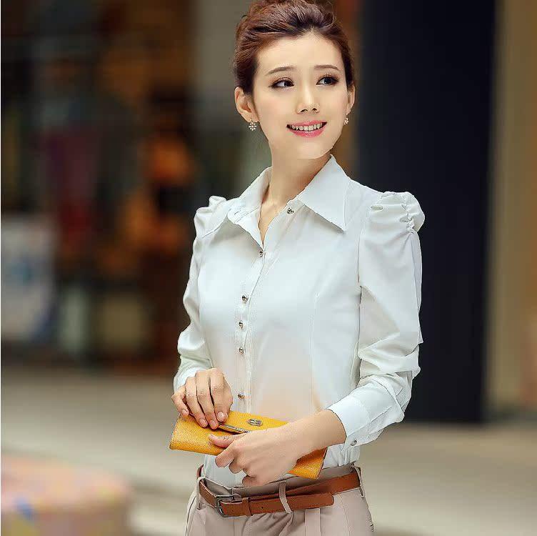 黄色雪纺衫 秋装新款2017韩版职业装衬衣长袖修身显瘦百搭打底衫雪纺女士正装_推荐淘宝好看的黄色雪纺衫