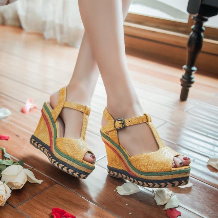 黄色坡跟鞋 新款丁字厚底灰色黄色蓝色女鞋超高跟坡跟凉鞋大码凉鞋小码鞋 LSK_推荐淘宝好看的黄色坡跟鞋