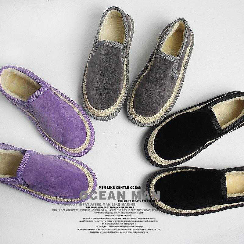 紫色平底鞋 冬季面包鞋新款个性麻边平底低帮雪地靴女版加绒一脚蹬棉鞋紫灰色_推荐淘宝好看的紫色平底鞋