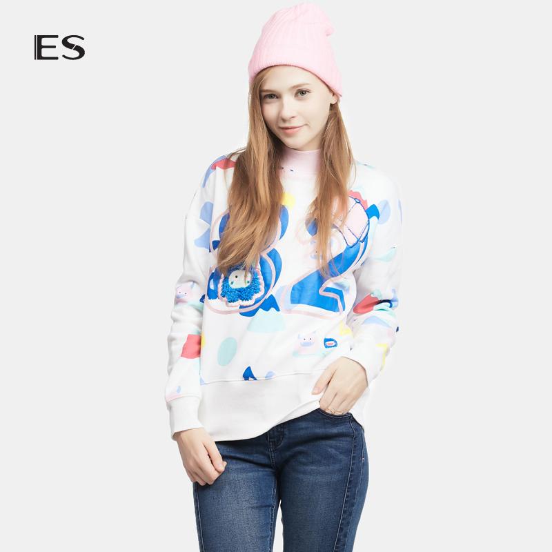 艾格女装 艾格 ES时尚百搭印花植绒套头卫衣16032873086_推荐淘宝好看的艾格