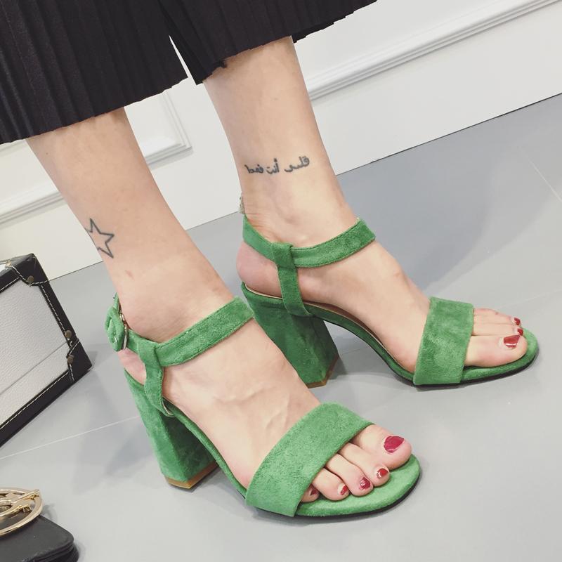 绿色罗马鞋 韩国代购大牌名媛高跟鞋 女鞋夏季粗跟罗马鞋简约气质一字扣绿色_推荐淘宝好看的绿色罗马鞋