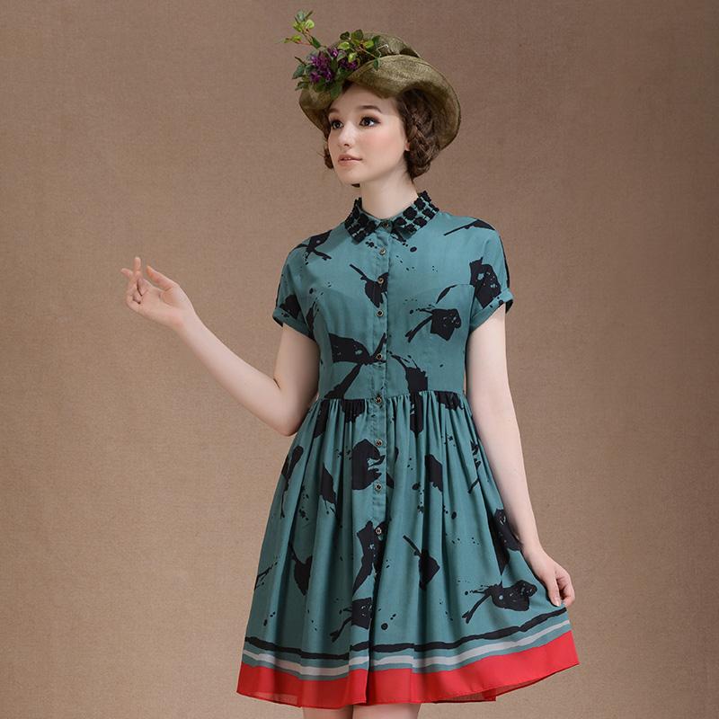 娃娃领短袖连衣裙 LIREN VILLAGE犁人坊2015春装女装新款娃娃领短袖中长修身连衣裙_推荐淘宝好看的娃娃领短袖连衣裙