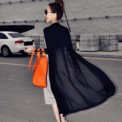 黑色雪纺衫 春夏女装莫代尔开衫蕾丝雪纺衫超中长款薄长袖防晒衣宽松外套披肩_推荐淘宝好看的黑色雪纺衫
