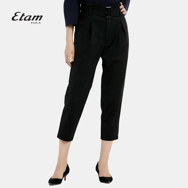 艾格女装 艾格 Etam时尚百搭纯色七分直筒休闲裤16012030295_推荐淘宝好看的艾格