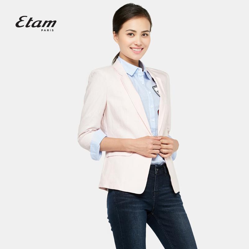 艾格服饰 艾格 Etam  经典时尚百搭纯色驳领修身西装外套女160121269_推荐淘宝好看的艾格女
