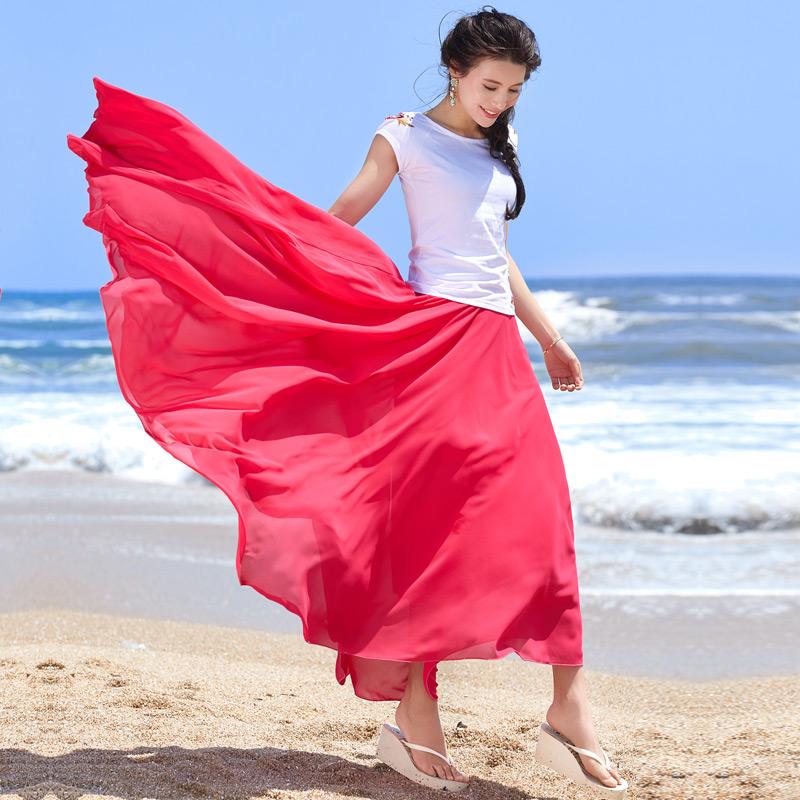 波西米亚拖地长裙半身裙 2017新款拖地半身长裙度假半身裙波西米亚沙滩裙大摆雪纺裙仙女裙_推荐淘宝好看的波西米亚拖地长裙半身裙