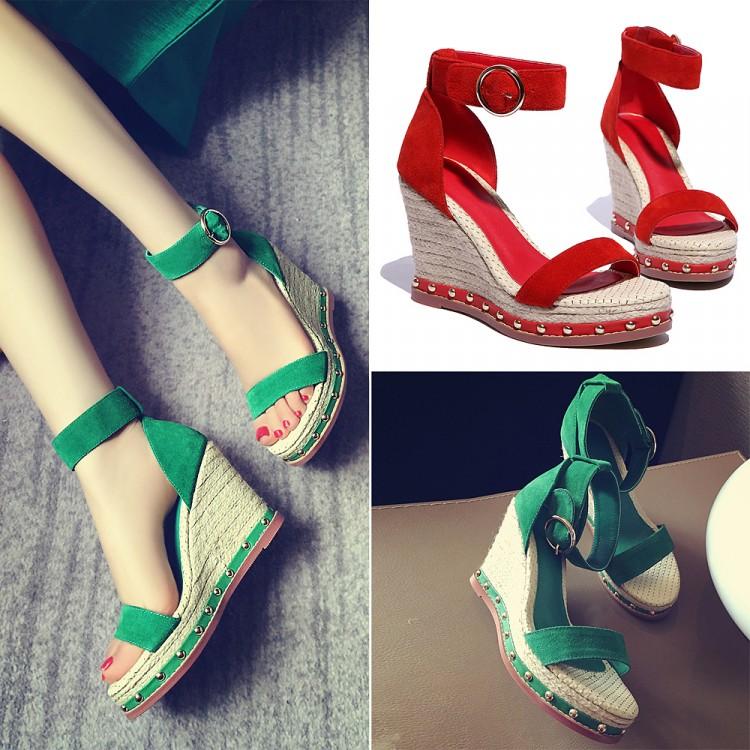 绿色罗马鞋 2016夏新款罗马真皮牛皮红色草编铆钉厚底坡跟鱼嘴高跟女凉鞋绿色_推荐淘宝好看的绿色罗马鞋