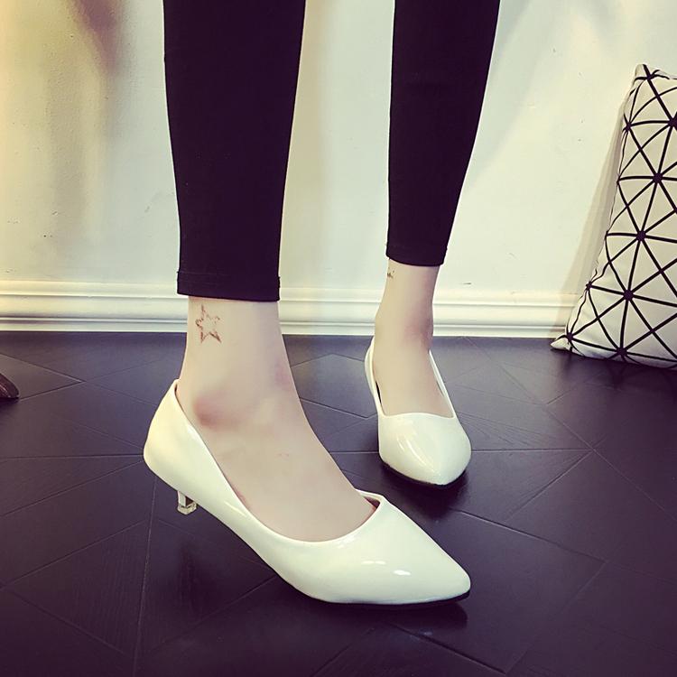 非主流高跟鞋 纯色新款高跟鞋时尚工作鞋低跟3-5公分小根跟鞋2017春单鞋女韩版_推荐淘宝好看的女时尚 高跟鞋