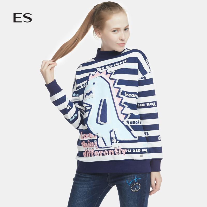 艾格女装 艾格 ES 2016 冬新品可爱恐龙印花条纹休闲卫衣16032845340_推荐淘宝好看的艾格