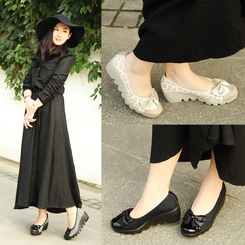 夏季豹纹坡跟鞋 ARCHCONTACT日本春夏豹纹坡跟软底韩版四季舒适通勤中高跟单鞋女_推荐淘宝好看的女夏豹纹坡跟鞋