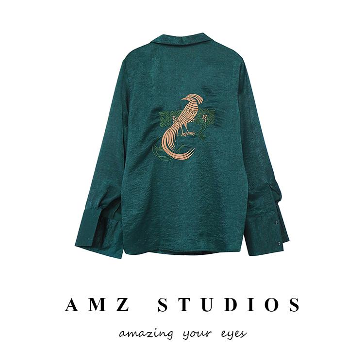 法式衬衫 AMZ 法式慵懒风 复古西装翻领缎面后背花鸟刺绣衬衣衬衫女_推荐淘宝好看的女法 衬衫