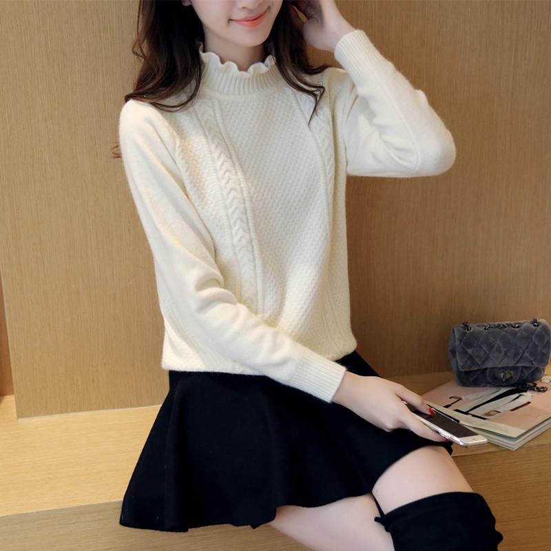 粉红色针织衫 秋冬女装韩版短款半高领毛衣套头修身打底衫女外套显瘦针织衫上衣_推荐淘宝好看的粉红色针织衫