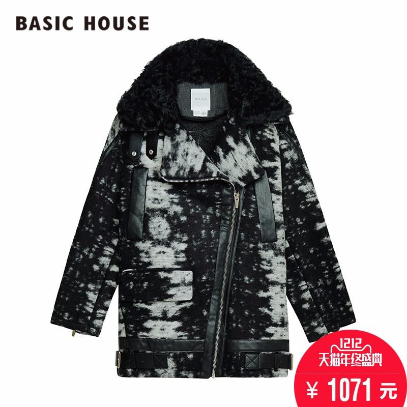 百家好女装 Basic House百家好韩版女式冬季时尚百搭迷彩大衣HPRF721B_推荐淘宝好看的百家好女