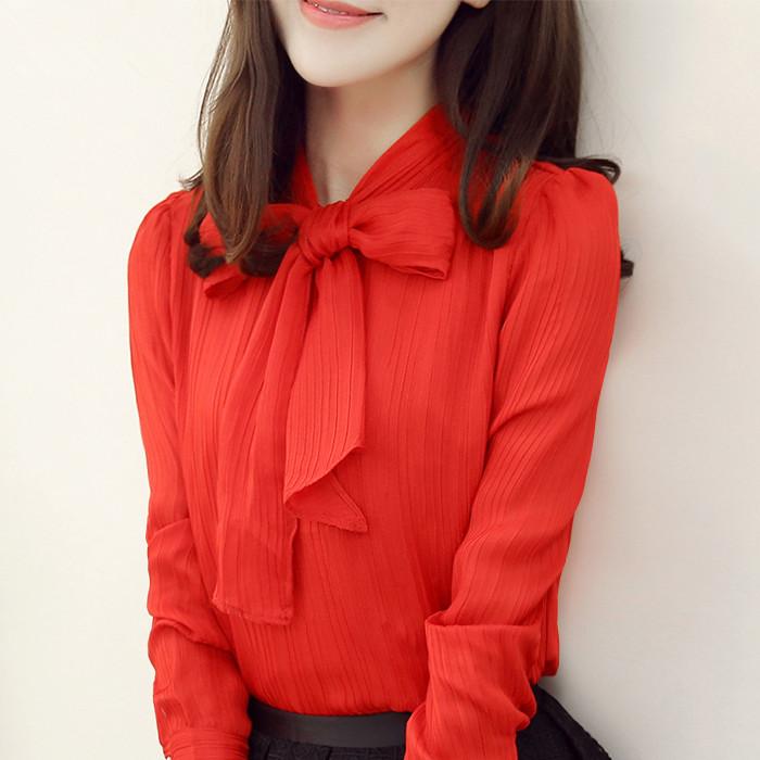 红色雪纺衫 2016春秋新款韩版显瘦蝴蝶结大码衬衣女装上衣小衫潮长袖雪纺衫_推荐淘宝好看的红色雪纺衫