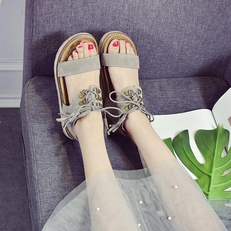 女凉鞋 2017新款韩版凉鞋女夏平底学生罗马凉鞋女韩国百搭平跟厚底简约潮_推荐淘宝好看的女凉鞋
