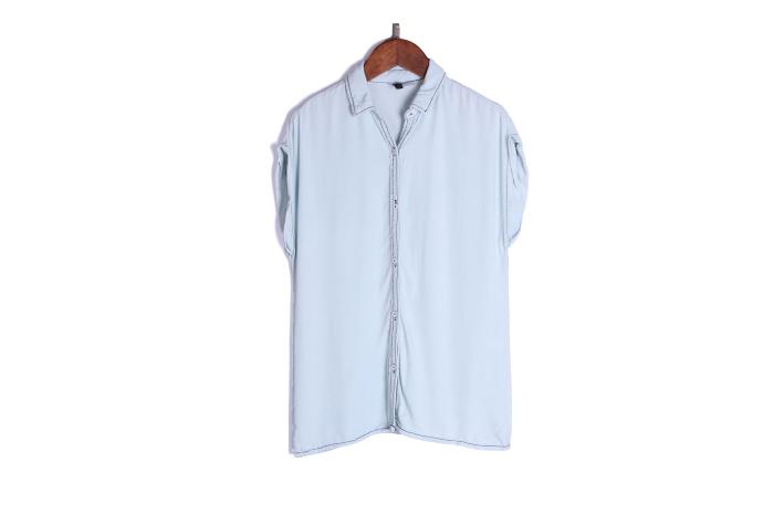 短袖牛仔衬衫 清仓处理 西班牙潮牌 女士牛仔短袖衬衫_推荐淘宝好看的女短袖牛仔衬衫