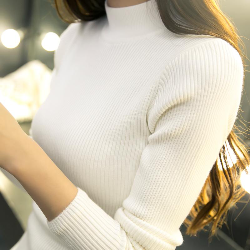 针织衫外套搭配 秋冬韩版短款宽松半高领毛衣打底衫女外套长袖套头加厚紧身针织衫_推荐淘宝好看的女针织衫外套