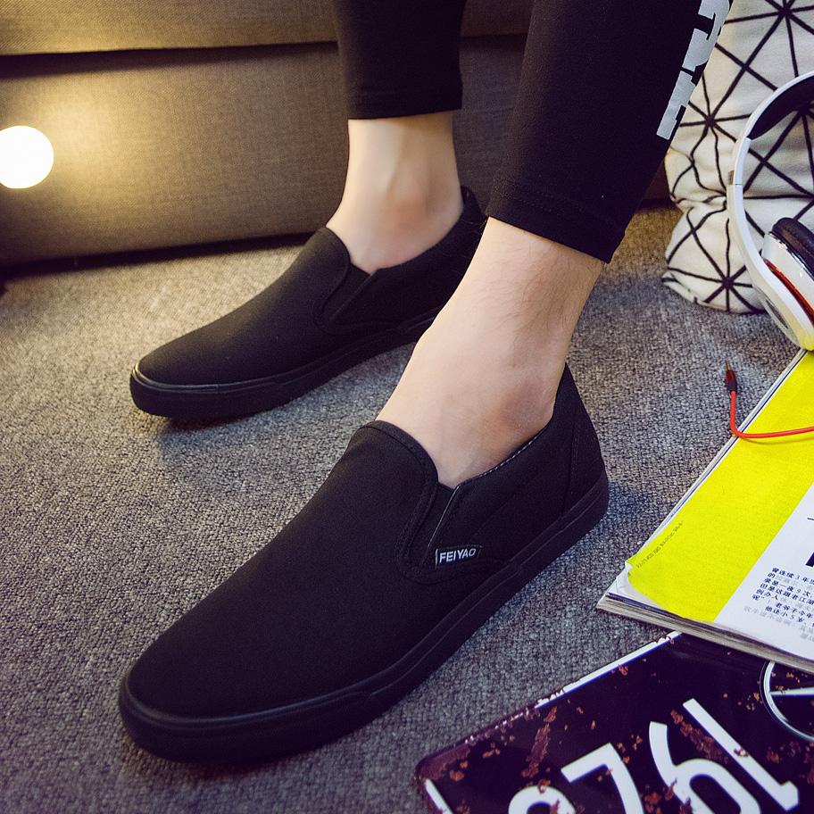 黑色帆布鞋 全纯黑色一脚登懒人鞋休闲棉鞋加棉男鞋帆布鞋男上班鞋工作鞋布鞋_推荐淘宝好看的黑色帆布鞋