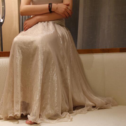 波西米亚半身裙 百元品质 正品波西米亚8米大摆夏沙滩裙金丝雪纺半身长裙双层不透_推荐淘宝好看的波西米亚半身裙