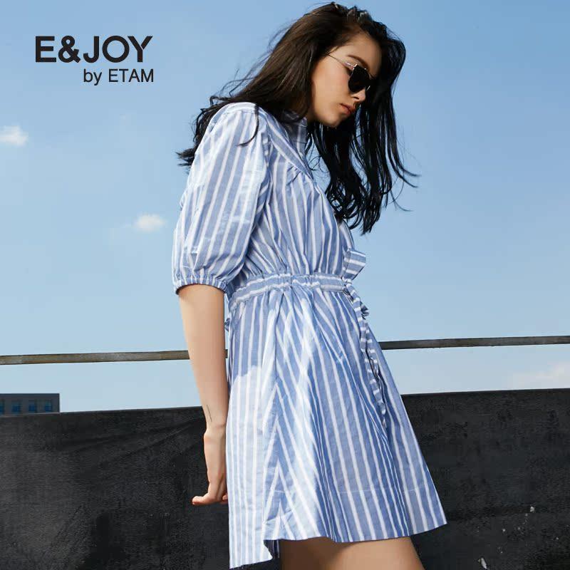 艾格连衣裙 Etam艾格 E&joy 2016秋新品系带不规则条纹连衣裙16082208841_推荐淘宝好看的艾格连衣裙