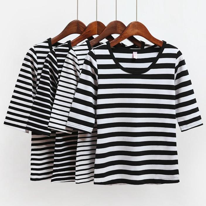黑白条纹t恤 2016新款秋装黑白条纹中袖T恤打底衫女装纯棉五分袖修身显瘦体恤_推荐淘宝好看的女黑白条纹t恤