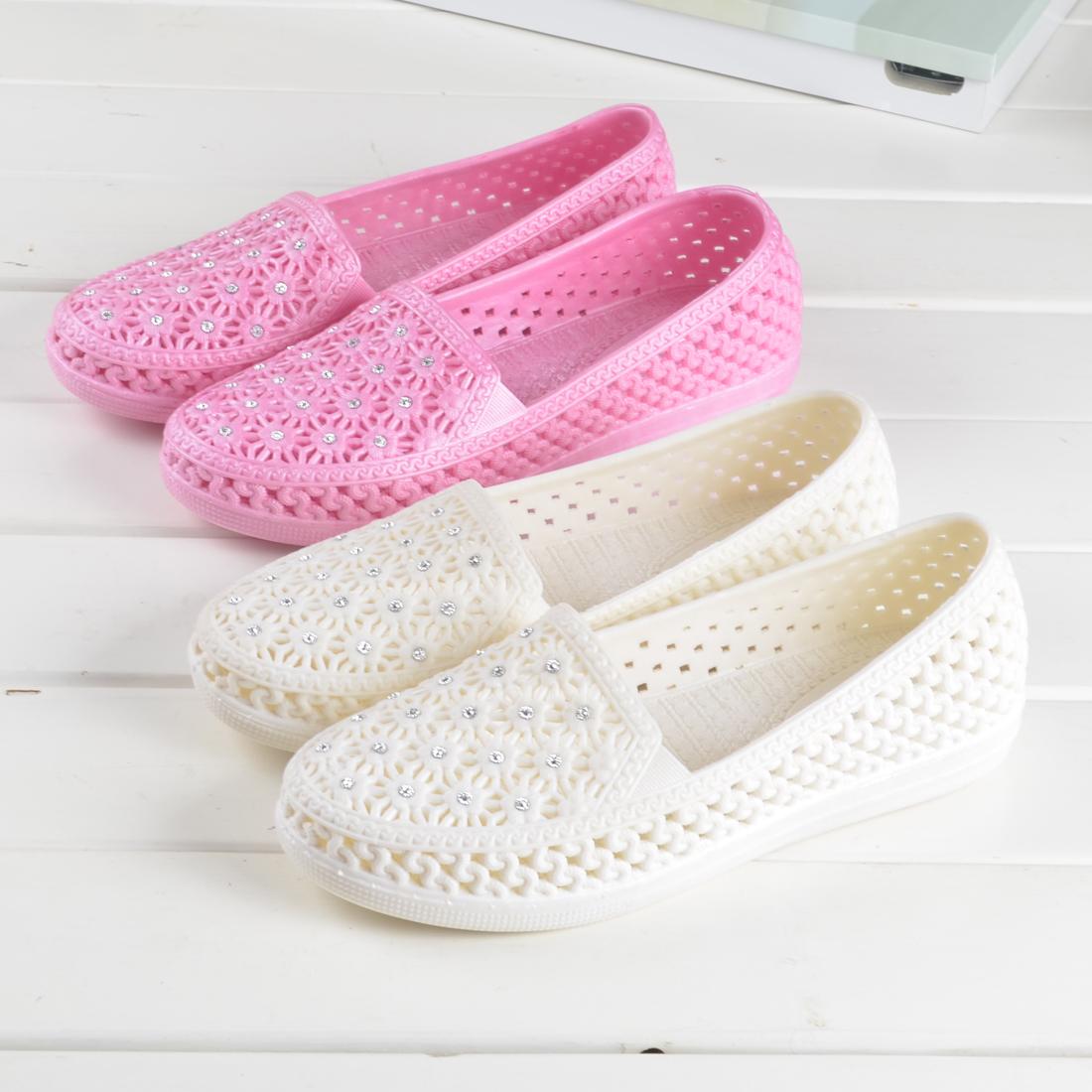 白色凉鞋 夏季浅口白色塑料凉鞋女 护士工作鞋包头鞋沙滩鞋鸟巢镂空洞洞鞋_推荐淘宝好看的白色凉鞋