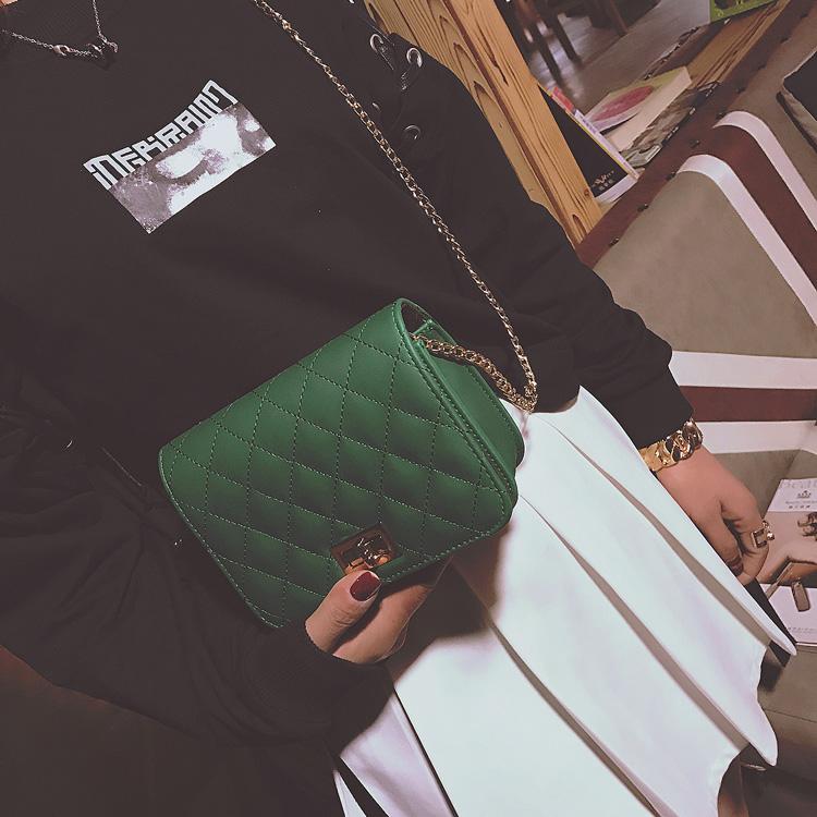 黑色菱格链条包 包包2017新款斜挎包小包女士迷你单肩包菱格链条女包韩版时尚潮包_推荐淘宝好看的黑色菱格链条包