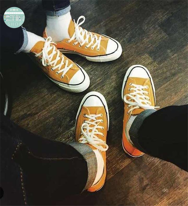 黄色帆布鞋 韩国ulzzang运动鞋女姜黄色复刻1970s芥末绿休闲鞋男女复古帆布鞋_推荐淘宝好看的黄色帆布鞋