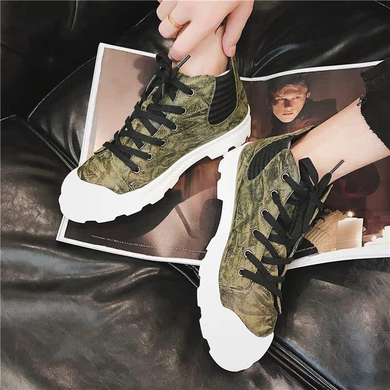 绿色高帮鞋 2017新款真皮高帮男鞋秋天街头风青年时尚厚底绿色嘻哈板鞋复古靴_推荐淘宝好看的绿色高帮鞋