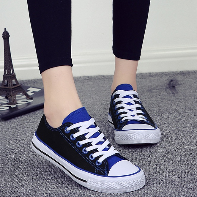 粉红色帆布鞋 粉红浅紫色蓝色帆布鞋平跟学生鞋系带低帮板鞋球鞋男女情侣款单鞋_推荐淘宝好看的粉红色帆布鞋