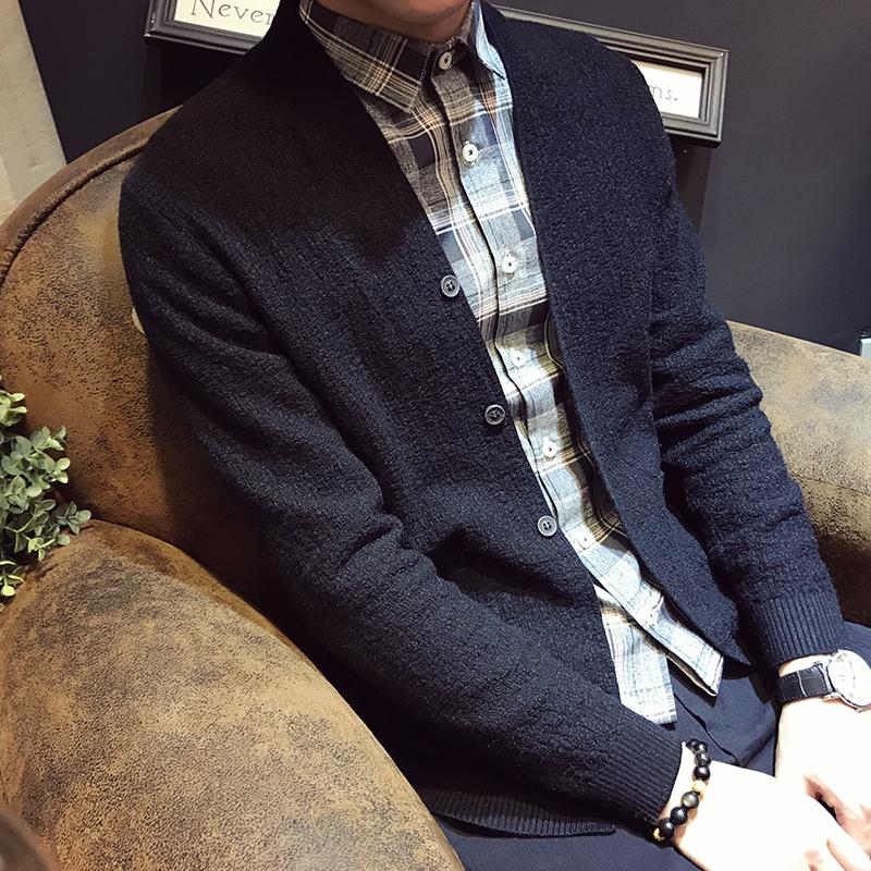 男士毛衣外套 小码男装小号秋季针织衫外套男韩版修身矮小个子S号XS码毛衣开衫_推荐淘宝好看的男毛衣外套