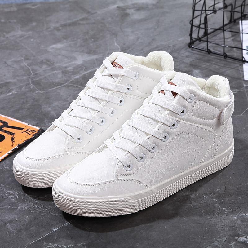 白色帆布鞋 冬季百搭小白鞋白色皮面棉鞋女大码40 41 42 43高帮加绒帆布鞋44_推荐淘宝好看的白色帆布鞋