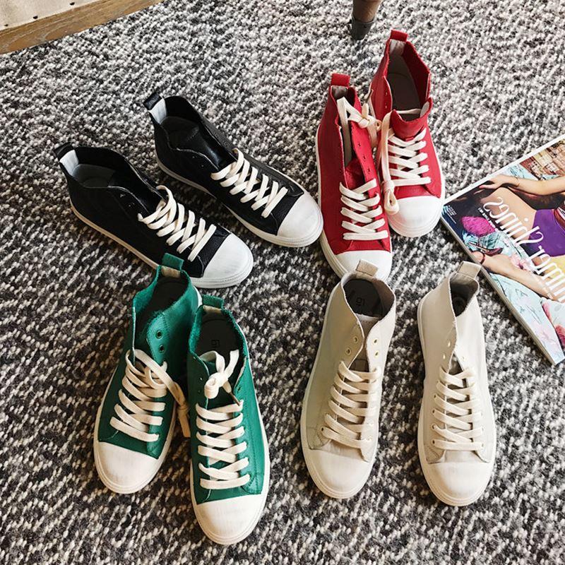 绿色高帮鞋 真皮拼接高帮系带休闲鞋夏季学院风舒适百搭舒适平底女单鞋红绿色_推荐淘宝好看的绿色高帮鞋