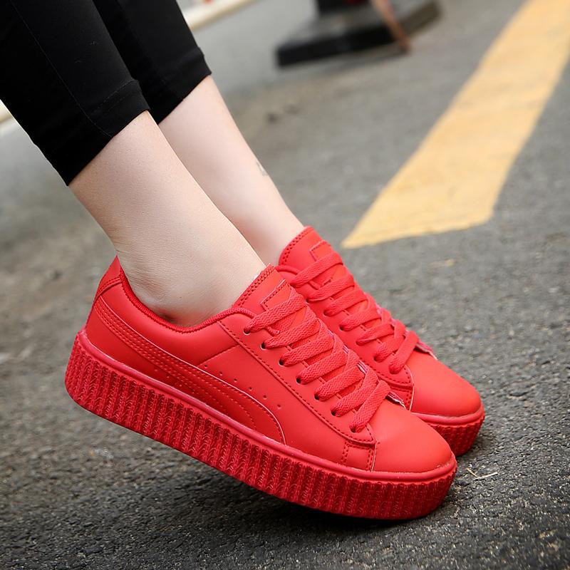 红色松糕鞋 大红色板鞋女韩版潮流运动鞋厚底松糕鞋纯色增高小白鞋休闲情侣鞋_推荐淘宝好看的红色松糕鞋