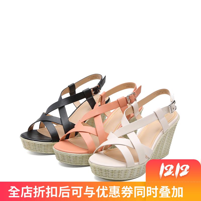 时尚高跟凉鞋 SHOEBOX鞋柜时尚舒适高跟坡跟防水台女鞋凉鞋1115303344_推荐淘宝好看的女时尚高跟凉鞋