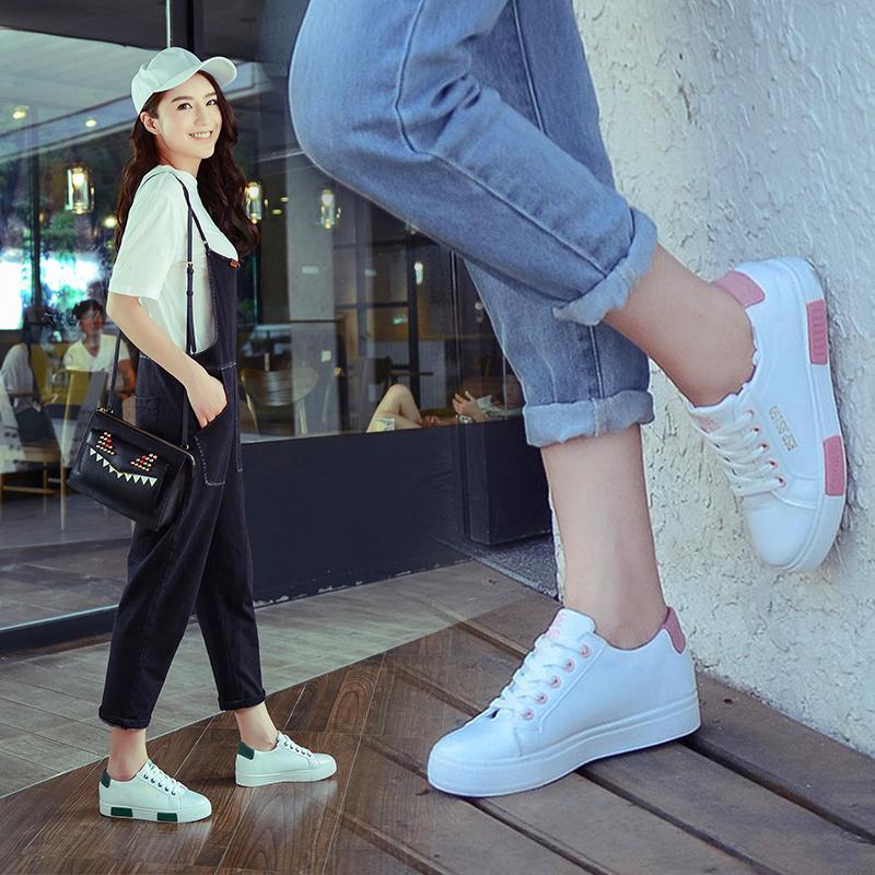 帆布鞋 春季小白鞋休闲学生帆布鞋女韩版平底百搭内增高单鞋跑步运动板鞋_推荐淘宝好看的女帆布鞋