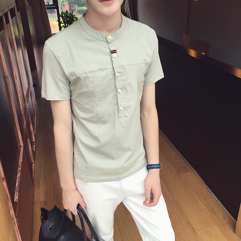 绿色T恤 2017夏季新款男士短袖T恤修身棉麻t恤衫韩版半截袖夏天立领体恤潮_推荐淘宝好看的绿色T恤
