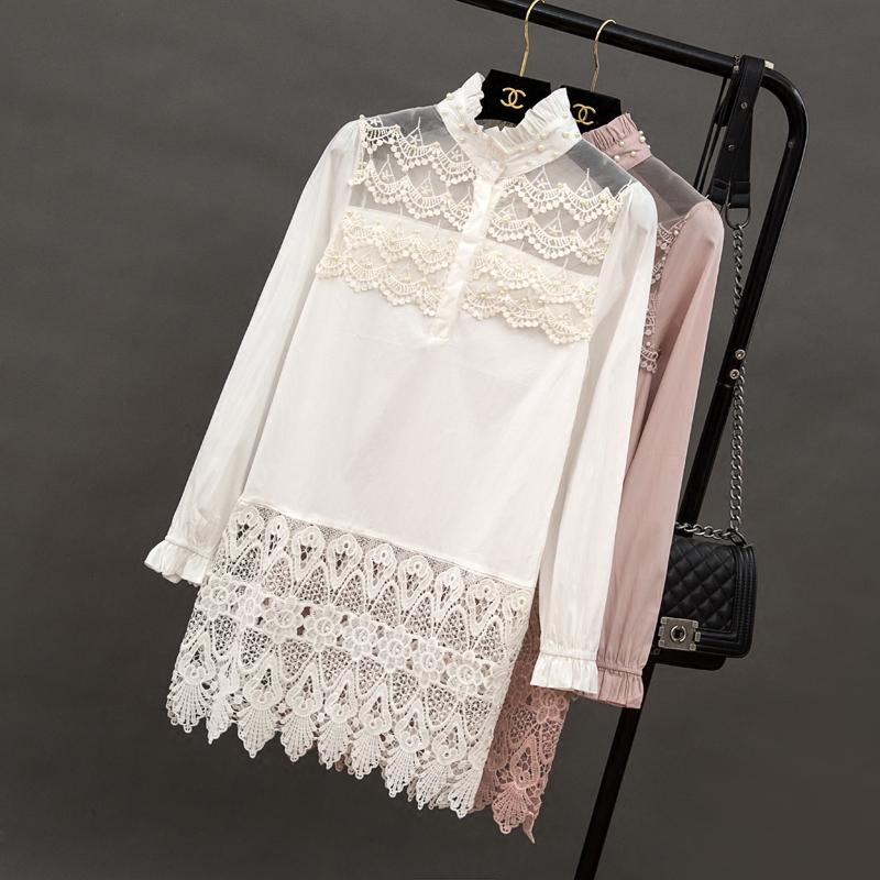 女士长款衬衫 【天天特价】长袖中长款衬衫镂空蕾丝拼接上衣宽松镂空白衬衣女_推荐淘宝好看的女长款衬衫