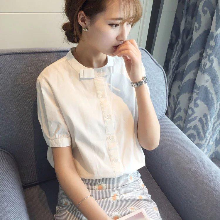 白衬衫 原创韩版百搭纯棉白色短袖衬衫女夏装新款职业工作服正装宽松上衣_推荐淘宝好看的女白衬衫