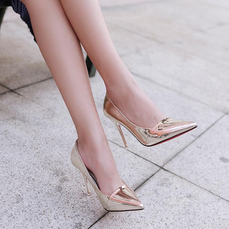尖头性感高跟鞋 2016秋季银色单鞋女欧美尖头性感时尚高跟鞋细跟浅口漆皮职业女鞋_推荐淘宝好看的尖头性感高跟鞋