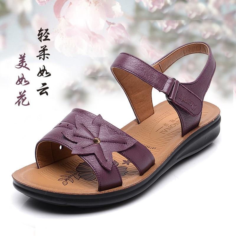 紫色凉鞋 2016夏季新款女士凉鞋真皮低跟中年妈妈鞋坡跟中老年女鞋花朵紫色_推荐淘宝好看的紫色凉鞋