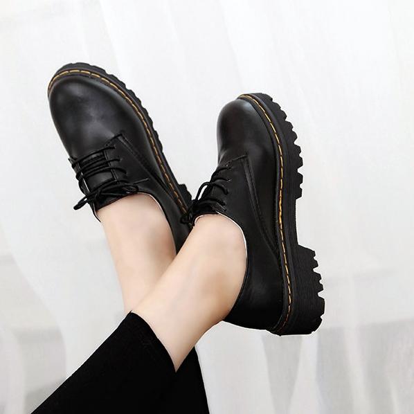 黑色平底鞋 秋冬韩版黑色小皮鞋初中高中学生英伦学院风女鞋复古平底圆头单鞋_推荐淘宝好看的黑色平底鞋